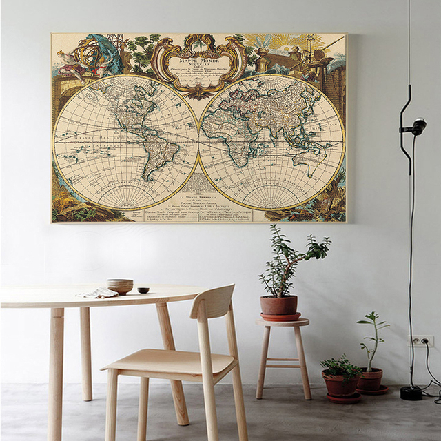 Vintage style poster retro travel world map wall art sticker ocean vintage style poster retro travel world map wall art sticker ocean map classic print picture decorative gumiabroncs Image collections