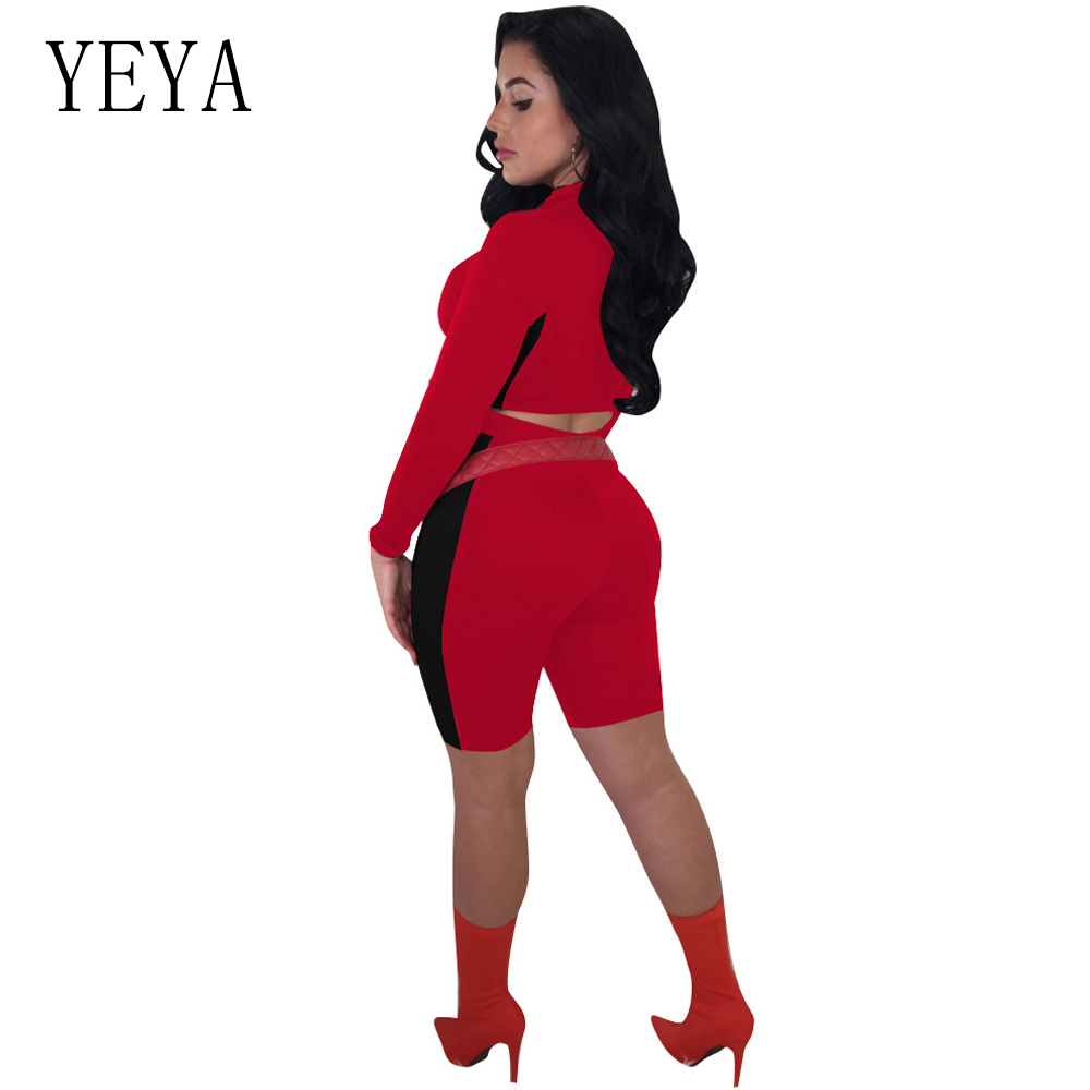 YEYA Two Piece Set Rompers Womens Jumpsuit Long Sleeve Zipper Color Block Bodycon Playsuit Casual Overalls Summer Sexy Bodysuits 2