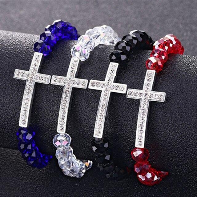 Crystal women's bracelet Charm Colorful Natural stone Crystal Cross bracelets Cr