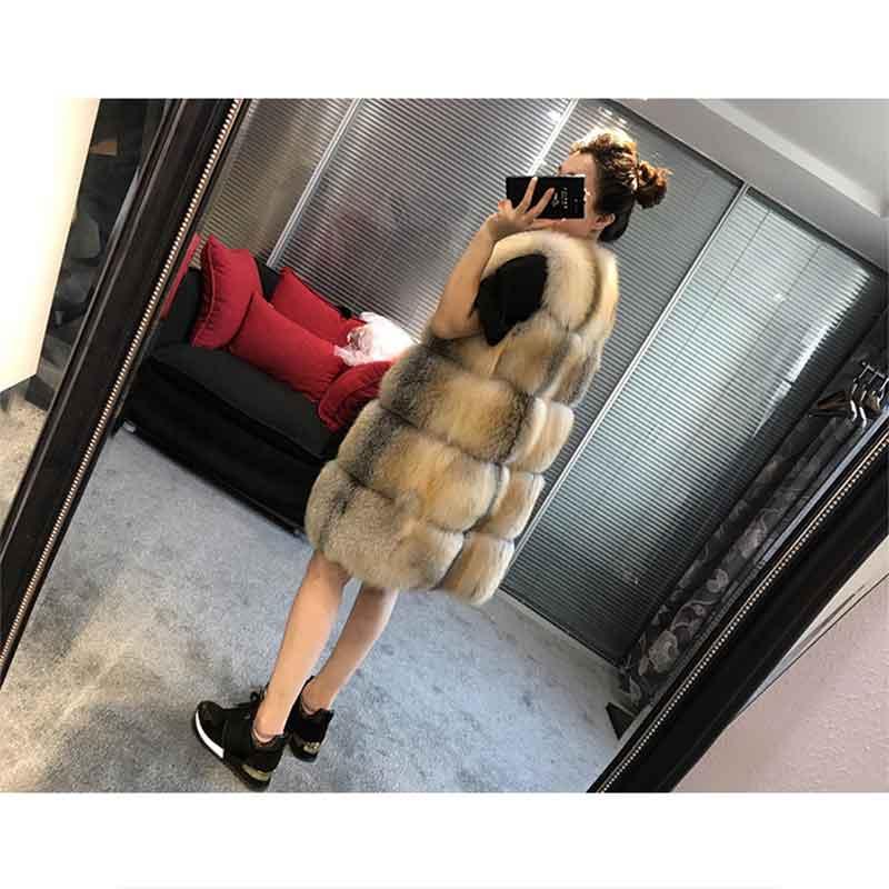 Mince Super 2018 Mode Fourrure Beige Femmes Renard Long De Gilet Cuir Fourrure Renard Style Hiver Manteau En Orq7CPxwfO