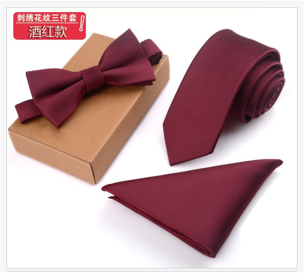 Cityraider Brand 2017 New Solid Red Silk Ties For Men Neckties Bow Tie And Pocket Square With Necktie Match 3pcs Set Ld100 Promoting Health And Curing Diseases