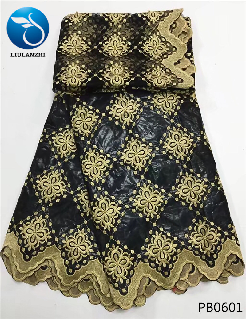 LIULANZHI African bazin riche fabric with beads Fashion black bazin cotton broderie embroidery tulle lace for wedding 7yard PB06 in Fabric from Home Garden