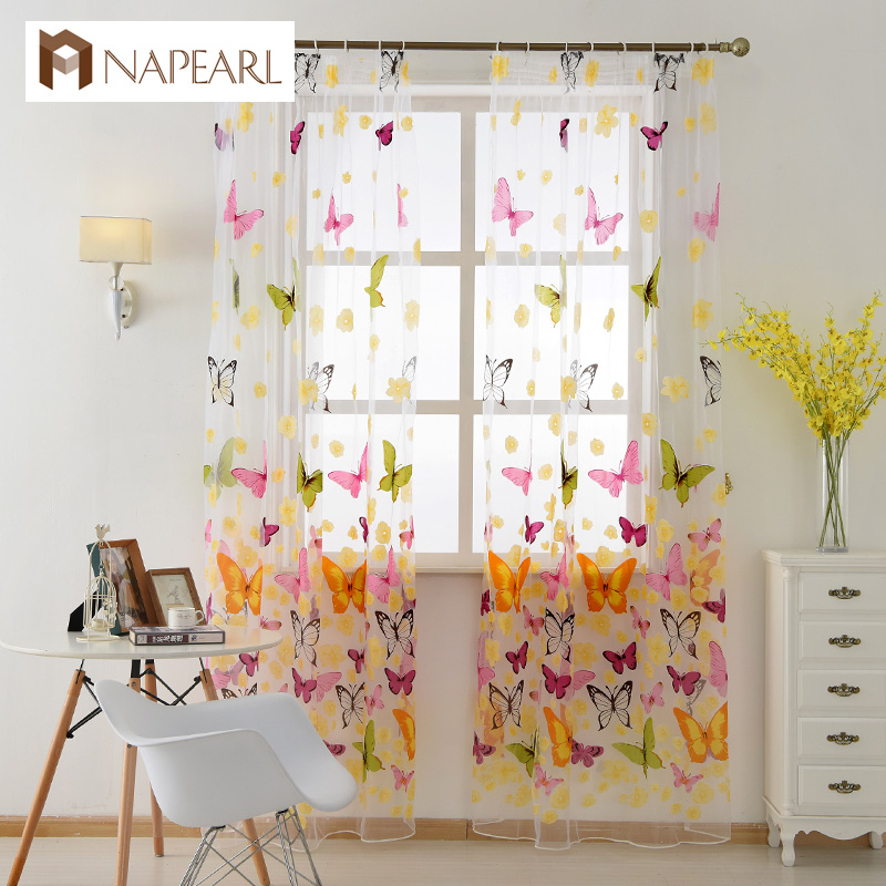 NAPEARL Butterfly Yarn Rustic Romantic Tulle Curtain Window Screening Customize Finished Products Balcony Sheer Curtains Bedroom