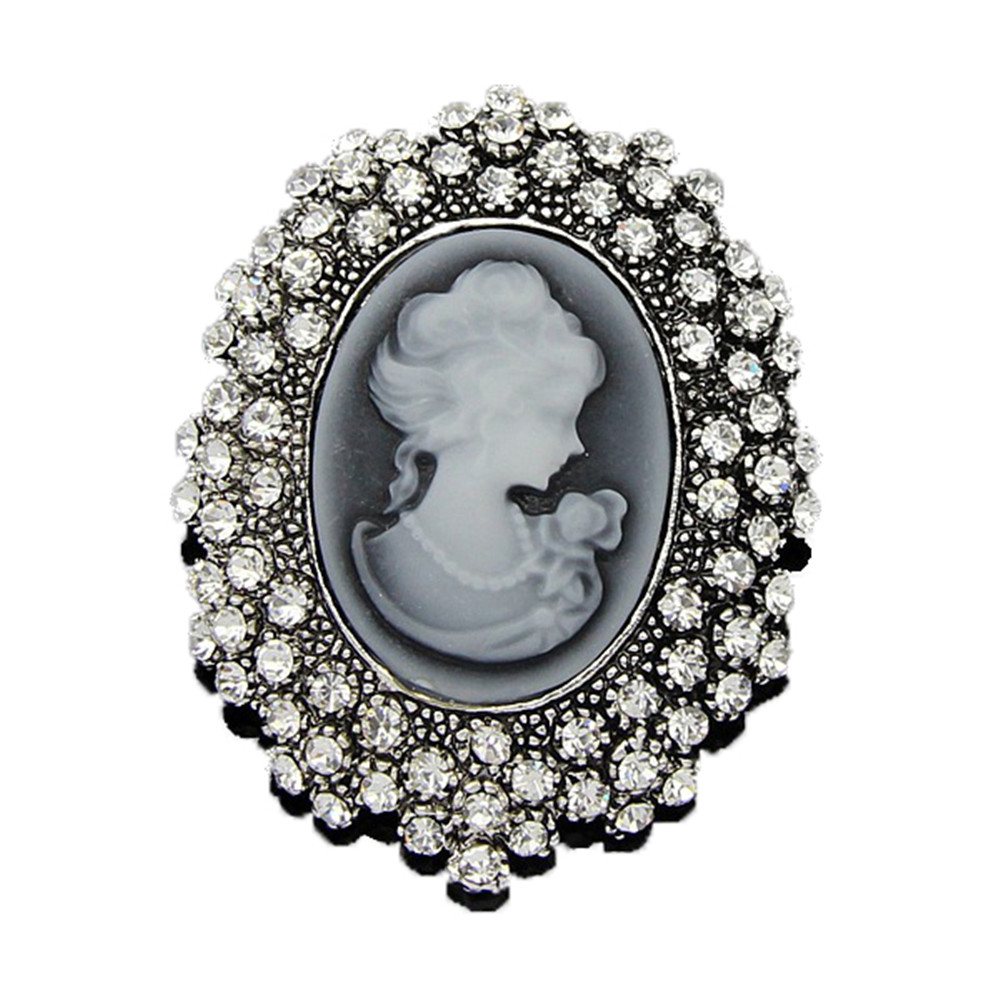 Women/'s Vintage Cameo Pearl Crystal Rhinestone Brooch Pins Costume Jewelry Queen