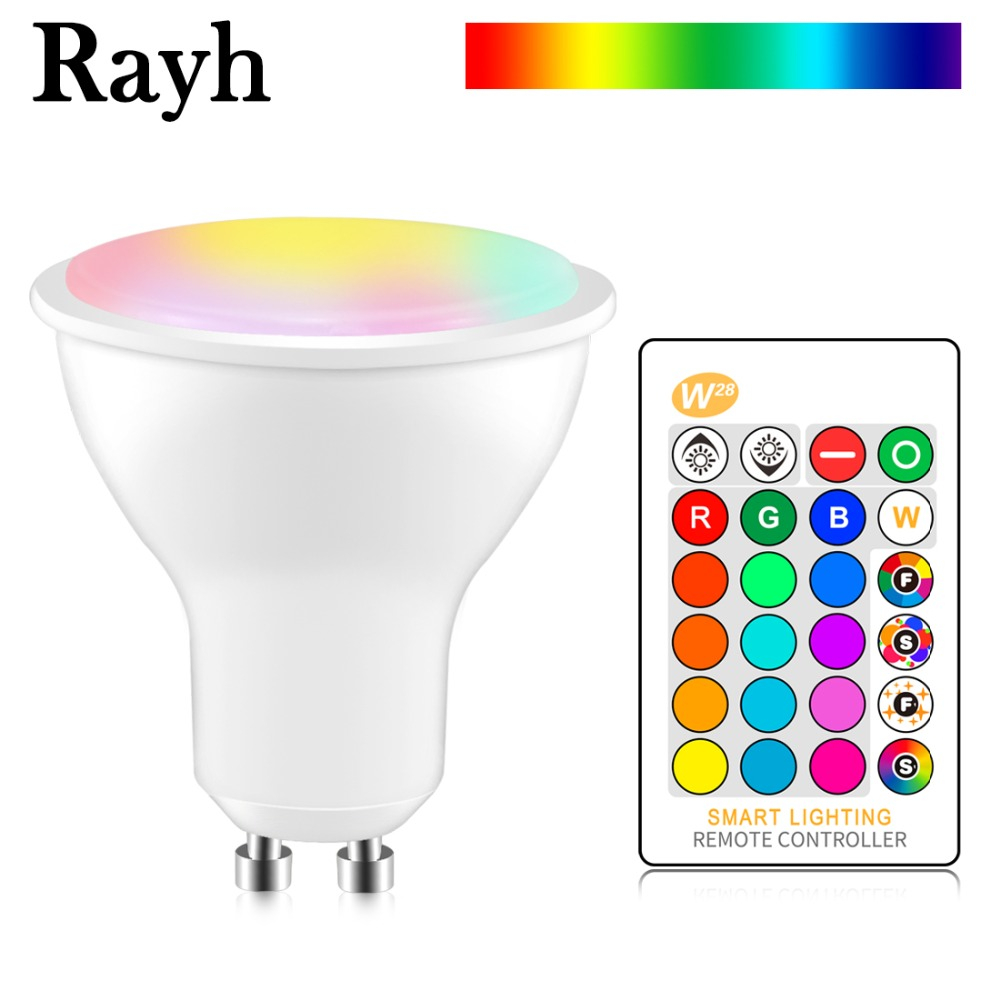8W GU10 LED Light Bulbs RGBW Remote Control 16 Colors Chang Smart Spotlight Lamp