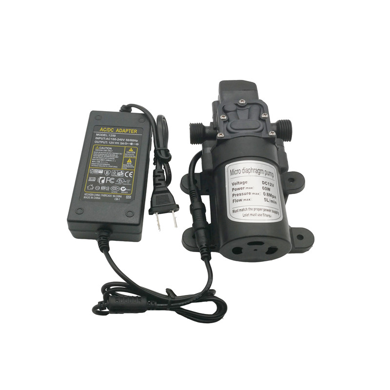S110 DC 12V 60W High Pressure Misting Pump ,Booster Diaphragm Self Priming  Water pump with AC to DC Adapter Power Supply