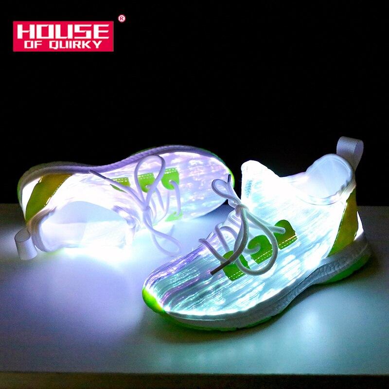 Nouveau chargeur usb Rougeoyant Lumineux Sneakers Enfants fibre optique Lumière Vamp Enfants led Pantoufles pour Garçon et Fille Light Up Chaussures