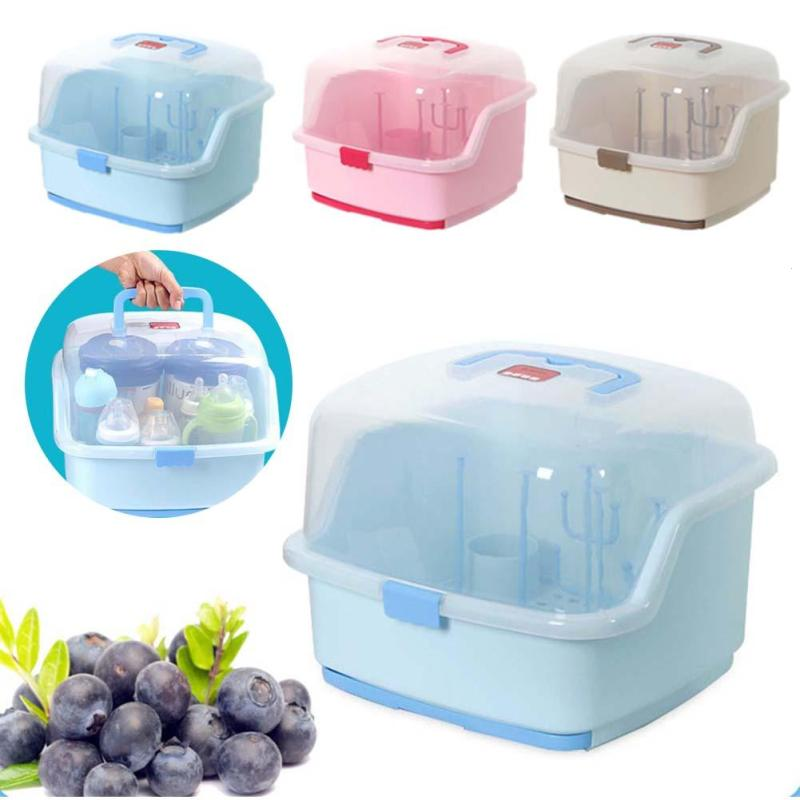 Multifunctional Baby Bottle Storage Box Portable Baby Feeding Bottles Cleaning Drying Rack Storage Nipple Shelf Outing B3 the new brand baby feeding bottle drying rack flower style nipple drying holder holds up to 12 feeding bottles and accessories