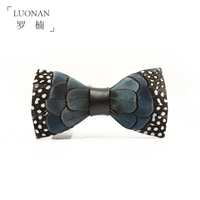 Bow Tie Blue Men Black And White Pearl Feathers Cortical Bowknot High End Wedding Bow Tie