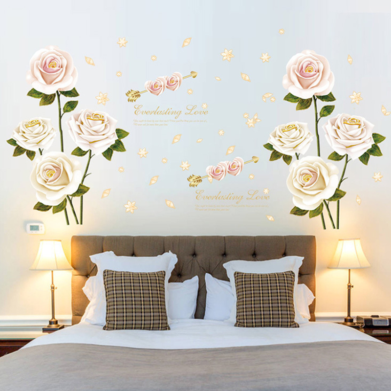 White Rose Bedroom Restaurant Entrance Room Wardrobe Study TV Background Decoration Wall Stickers
