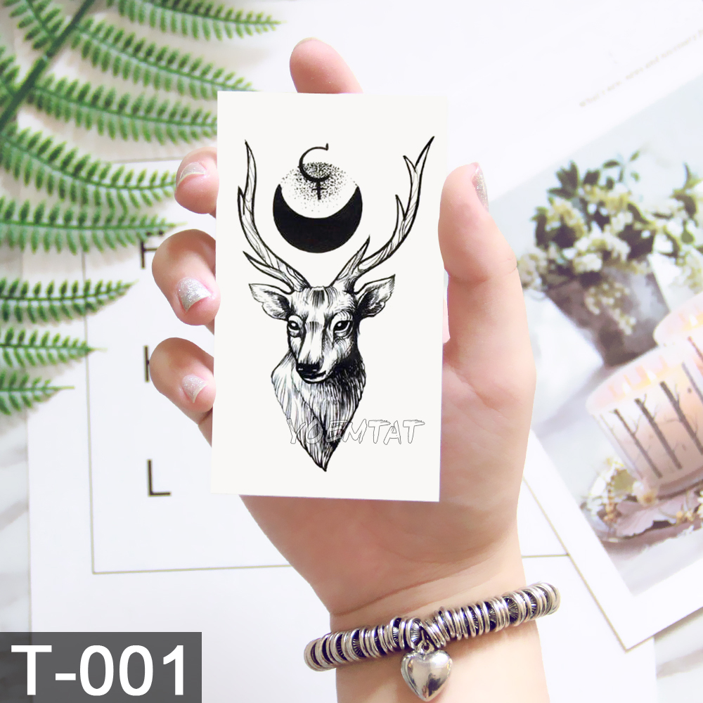 Black Geometric whale Temporary Tattoo Moon Deer Rose Tattoo Stickers Women Party Body Arm Art Fake Tattoo Leaf Men Flower Hands 3