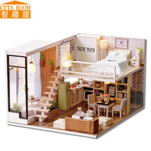 цена на Assemble DIY Doll House Toy Wooden Miniatura Doll Houses Miniature Dollhouse toys With Furniture LED Lights Birthday Gift L020