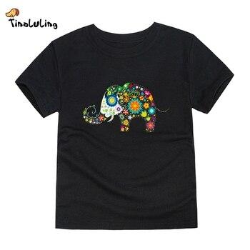TINOLULING 2018 boys girls elephant t shirt kids top t-shirt children summer tees for 2-14 years