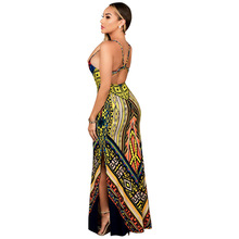 2016 Robe Sexy Long Dresses Sleeveless Backless Two Front Splits Spaghetti Strap Slit Design Printed Maxi Summer Women Dress