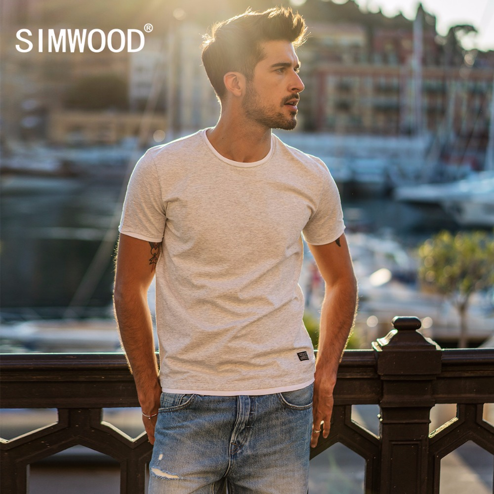 SIMWOOD 2019 Summer New Fake Double Layered T Shirt Men Short Sleeve Contrast color Tshirt 100% Cotton Tops Fashion Tees 180248