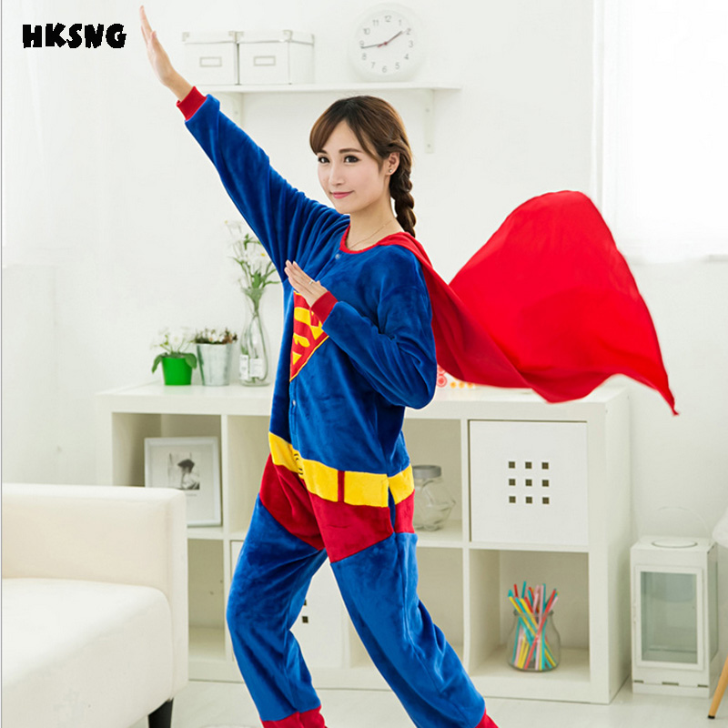 HKSNG Adult Flannel Winter Unisex Superman Pajamas Cosplay ...