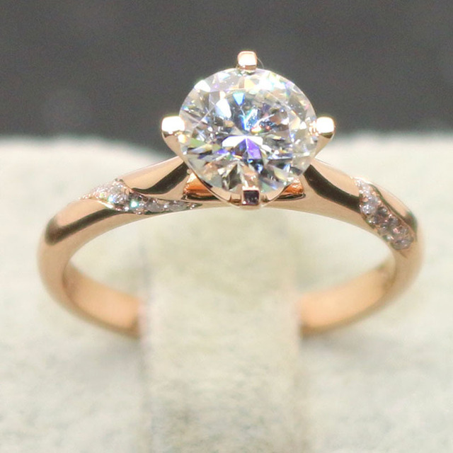 1 Carat ct No Less Than GH Color Engagement Wedding Lab Grown Moissanite Diamond Ring With Real Diamond Accent 14K 585 Rose Gold
