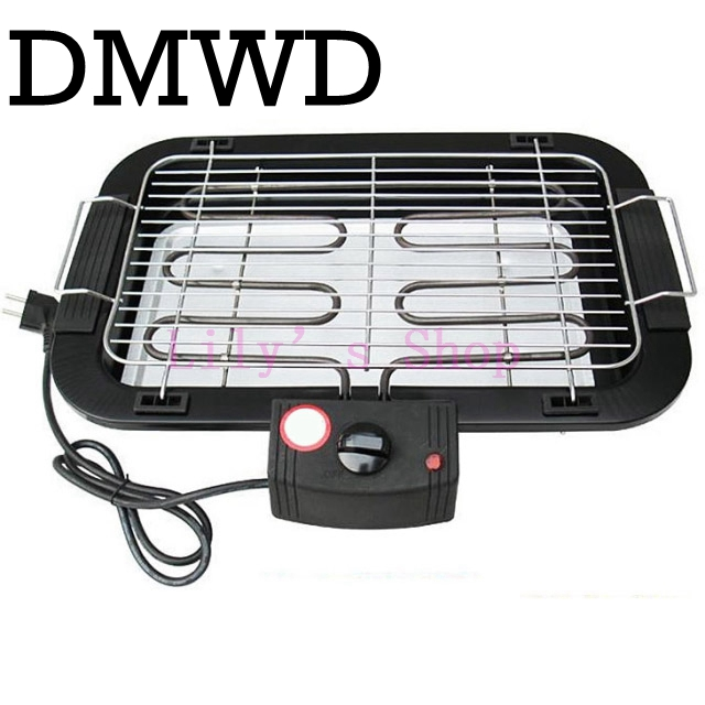 DMWD Electric Heating Barbecue Grill Oven Smokeless Indoor Carbon Free Meat Kebab Roaster BBQ Pan Hotplate Griddle EU US Plug 1pc hot sale 100%quality guaranteed doner kebab slicer two blades electrical kebab knife kebab shawarma gyros cutter