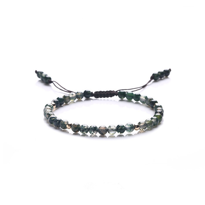 Dark green Natural stone bracelet very fine with gold beads male and female couple bracelet