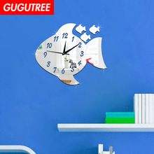Decorate 3D fish duck clock art wall mirror sticker decoration Decals mural painting Removable Decor Wallpaper LF-1315