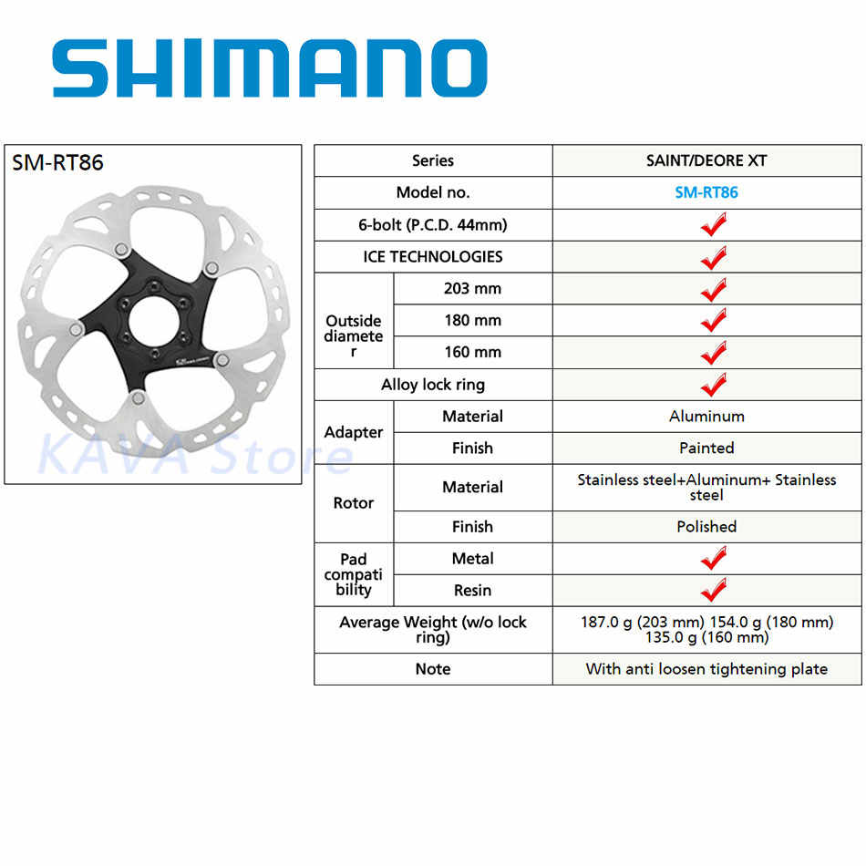 SHIMANO DEORE XT SM-RT86 ice Point Technology Brake Disc 6 Bolt ROAD  Mountain Bikes Disc Rotor 203mm 180mm 160mm