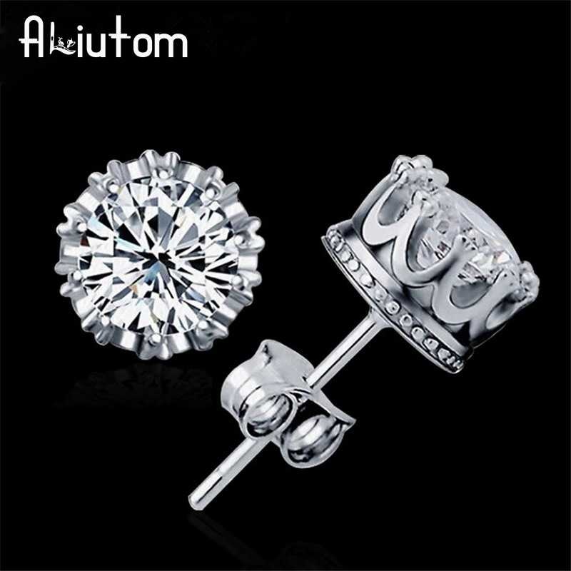 ALIUTOM 925 Sterling Sliver Fashion Jewelry 8MM Round 2 Carat Cubic Zirconia Silver Stud Earrings for Women