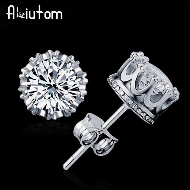 ALIUTOM 925 Sterling Silver Sliver Đồ Trang Sức Thời Trang 8 MM Vòng 2 Carat Cubic Zirconia Bạc Stud Earrings đối với Phụ Nữ