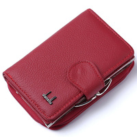 2017 Women Wallets Solid Color Genuine Leather High Quality Zipper And Hasp Coin Purse 100 Cowhide
