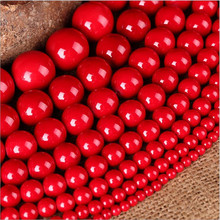 1 Strand/ot Round Simulated Red Coral Stone Charm Beads 4mm 6mm 8mm 10mm for DIY Bracelets Jewelry Making Accessories Free Ship