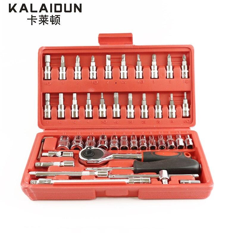 KALAIDUN High Quality 46pcs 1/4 Inch Socket Set Tool Ratchet Torque Wrench Combo Tools Kit Car Repair Tools Set