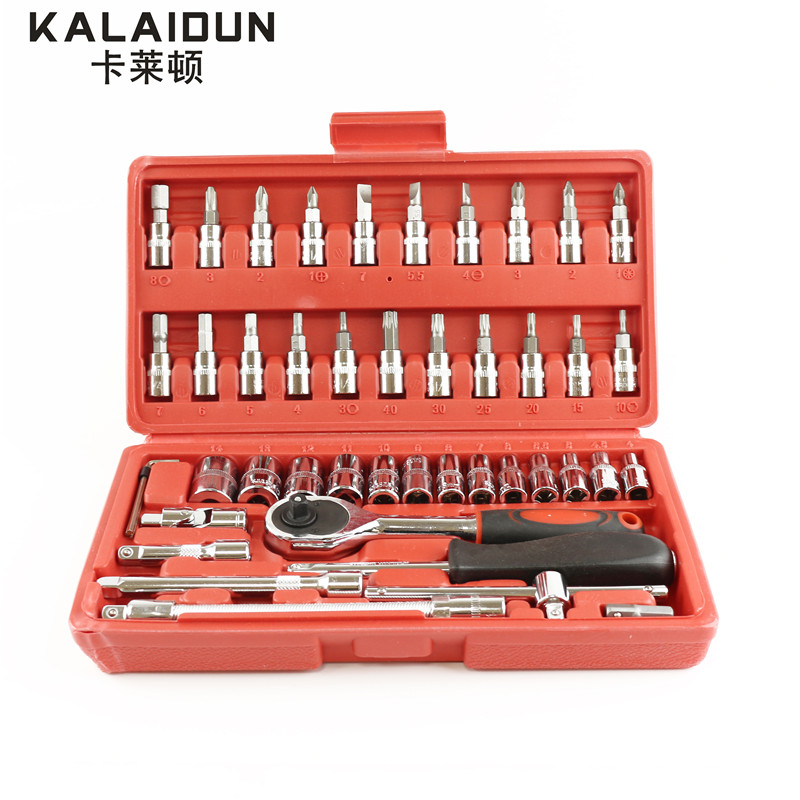 Kalaidun Высокое качество 46 шт. 1/4-дюймовый Разъем набор инструментов, гаечный ключ комбо инструментов ремонт автомобилей набор инструментов
