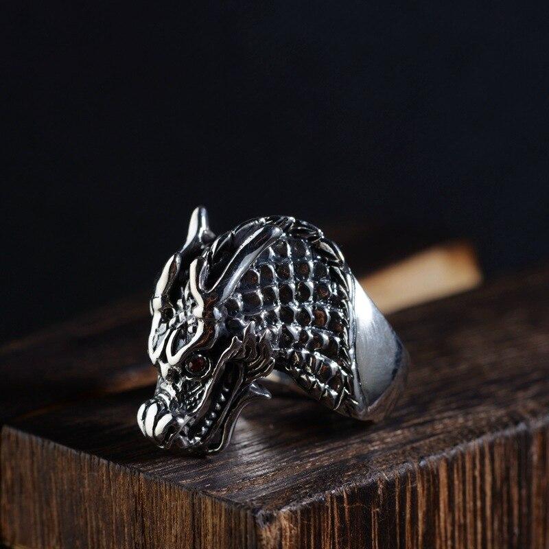 FNJ 925 bague tête de Dragon en argent nouvelle mode Punk Animal S925 Sterling Thai anneaux en argent pour hommes bijoux taille réglable