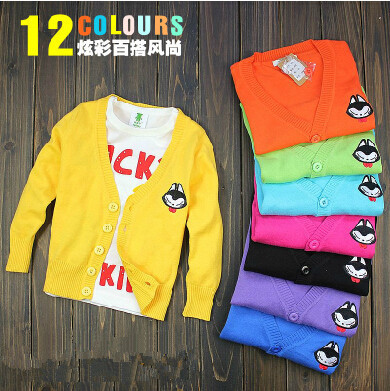 2017 candy color child sweater boys girls child baby embroidered 100% cotton sweater cardigan,
