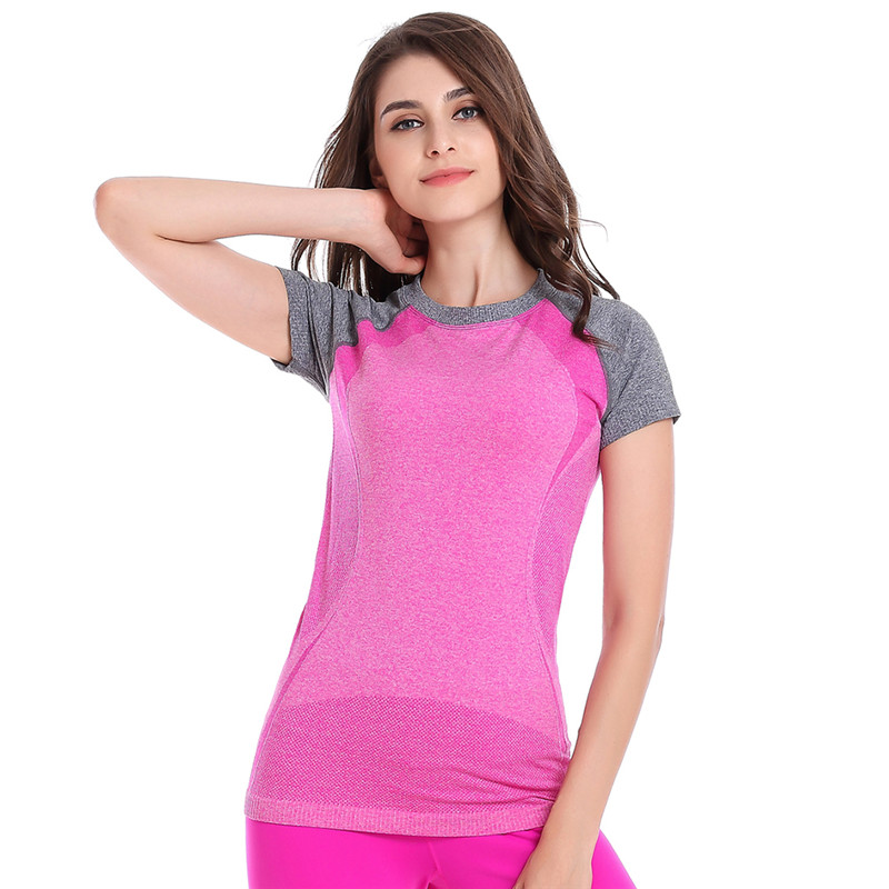 Woman Aerobics Fitness Jogging Gymnastics Short Sleeve Sports Soft T shirts