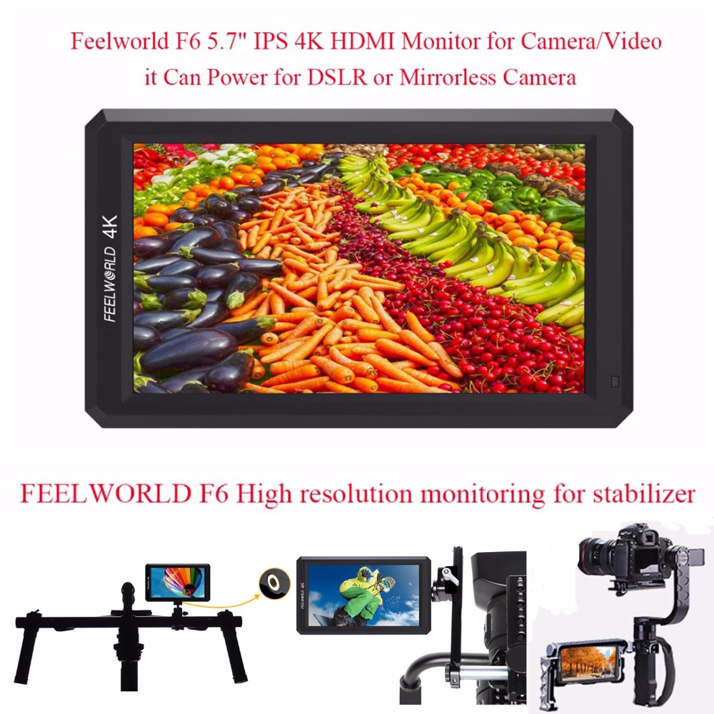 Feelworld F6 5.7 IPS 4K HDMI Camera-top Monitor for Camera it Can Power for DSLR or Mirrorless Camera,Monitoring for Stabilizer цена