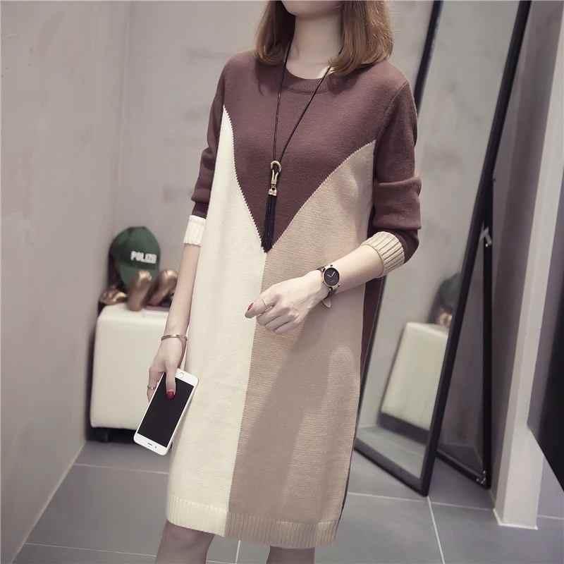 2019 плюс размер 3XL Новое Женское осенне-зимнее платье-свитер женское с длинным рукавом в стиле пэчворк Модные трикотажные пуловеры средней длины топы D8