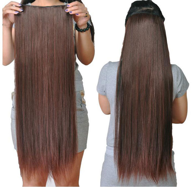 Women Long Straight Hair One Piece Clips in Hair Extensions Full Head Top  CL  61224 a7a43f845e