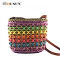 O envio gratuito de 2016 de Moda tecelagem de Palha Balde saco de viagem Mulheres Mulheres sacos de Praia bolsas de ombro Hot sale Rainbow color Praia saco