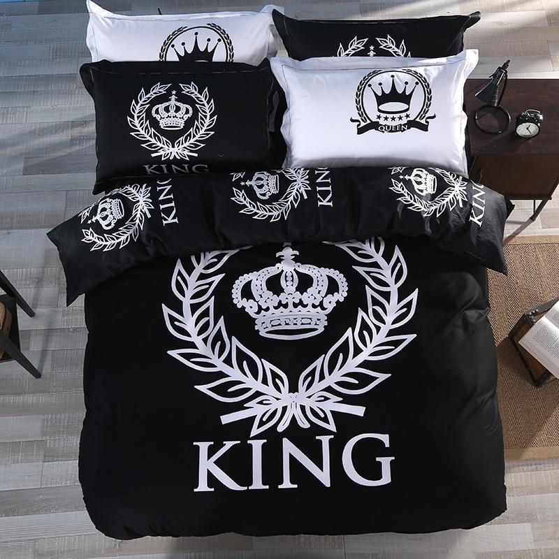 Мода король корона 100% хлопок Набор пододеяльников для пуховых одеял комплект с кровать плоский Простыни и Наволочки черные и белые один Queen ...
