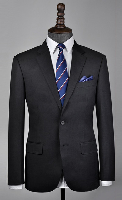 Free shipping Italy groom suits two worsted suit buckle dark grey ...