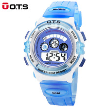 OTS Kids Rubber strap fashion Children Plasti Alarm LED 50M waterproof sport Candy color boys girls Children Silicone kid watch
