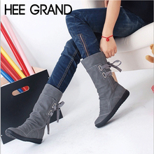 HEE GRAND 2018 New Women Fashion Boots Autumn Shoes with Lace-up Mid-Calf Solid Flat Heels PU Boots Mujer Shoes XWX7001(China)