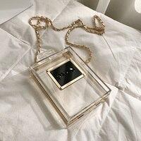 Famous Brands Crossbody Women Bags Metal Clutch Acrylic Evening Box Perfume Bottle Transparent Clear Shoulder Wedding Handbags
