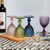 New High Quality Wine Glasses Drinking Cup Pineapple Style Wine Goblet Drinking Glass 4 Color Drinkware