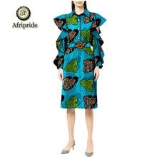 2019 african dresses for women AFRIPRIDE bazin riche ankara print pure cotton private custom wax batik sashes dresses S1825093 цена