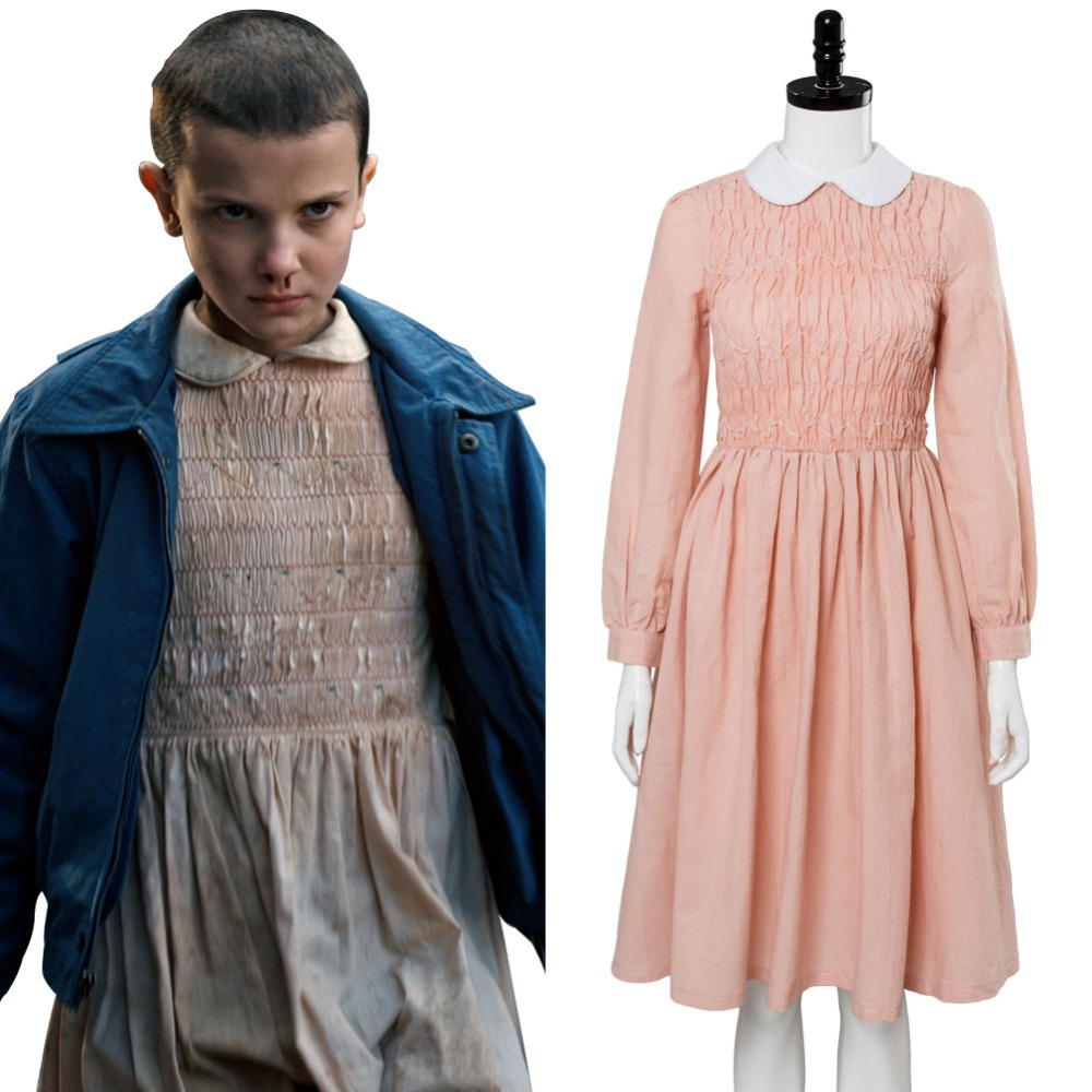 Stranger Things Cosplay Eleven Millie Bobby Cosplay Costume El Pink Dress Sets Halloween Carnival Cosplay Women Girls Costume Anime Costumes
