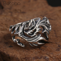 Real 925 Sterling Silver Domineering Dragon Men Ring Wide 16mm Opening Vintage Thai Silver Ring Fine Jewelry Send Boyfriend Gift