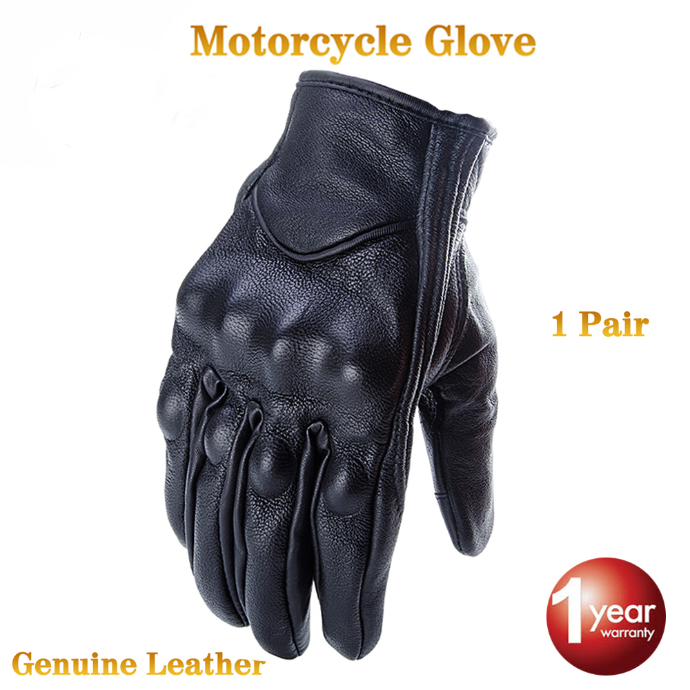 CRAZY BIKER Glove real Leather Full Finger Black moto men Motorcycle Gloves Motorcycle Protective Gears Windproof universal motorcycle windproof warm glove black orange