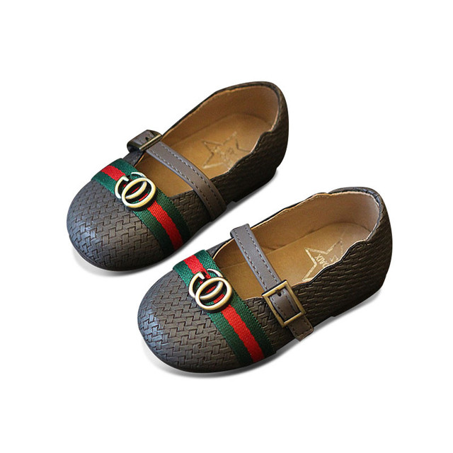2017 spring autumn children fashion pu leather flats for baby girl brand woven shoe toddler black mary jan