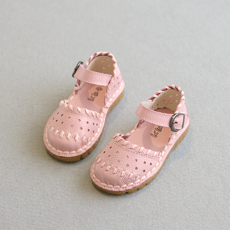 Girls sandals 2016 Summer new princess sandals children shoes girls genuine leather sandals high quality flat